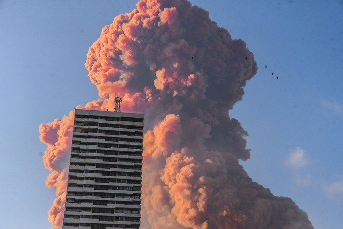 Credit: Elizabeth Fitt/SIPA/2008051043The red-orange smoke plume was one of the first clues that ammonium nitrate was involved in the explosion in Beirut.