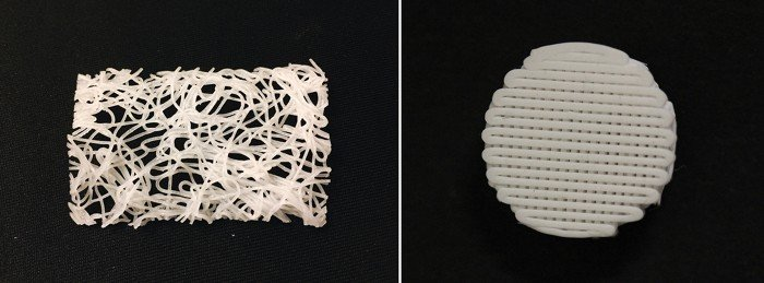 A new carbon-absorbing material can be extruded (left) or 3-D printed (right) into structures, providing a cheap and efficient way to purify biogas.
