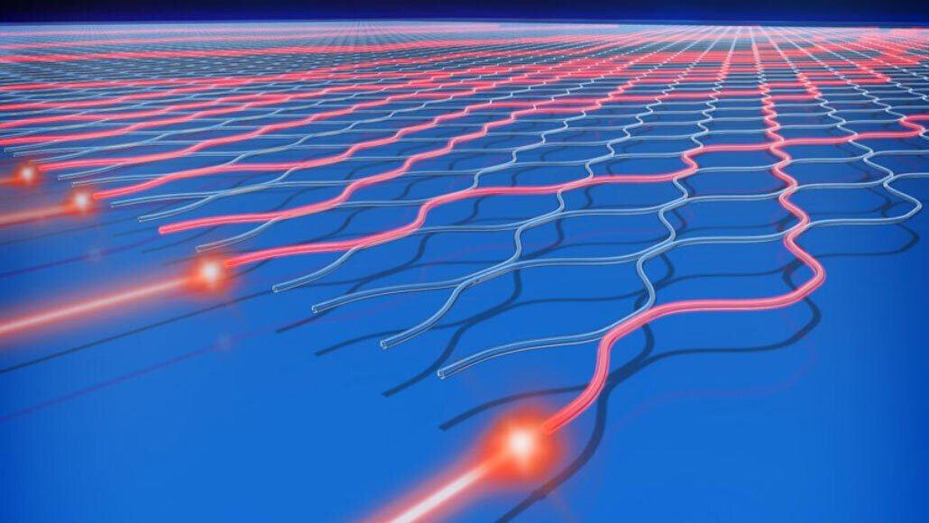 The quantum computer Jiuzhang works by sending particles of light (illustrated in red) into a network of channels and then measuring the photons at the other end.YIHAN LUO