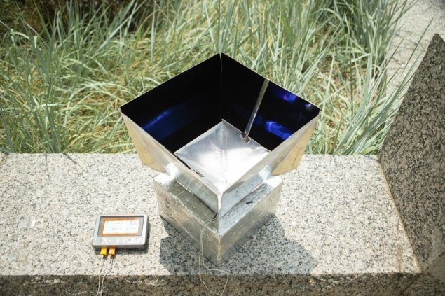 Photo of the PDMS/metal absorber housed in its shelter. Credit: University at Buffalo